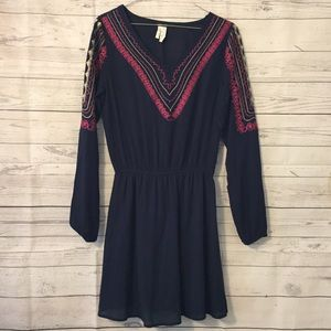 West 36th Navy Blue Embroidered Dress Size Small